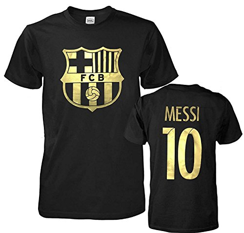 Messi Barcelona Shirt - DhoomBros FC Barcelona Soccer Lionel Messi 10 Shirt Futbol Jersey T-Shirt (Adult Medium, Black)