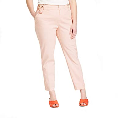 ca4cff6ee311c Ava   Viv Women s Plus Size Straight Boyfriend Chino Ankle Pants - Glazed  Peach - (