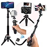 HEAVY DUTY Premium Selfie Stick Tripod Stand Best 4-in-1 Kit + Bluetooth Remote ZUUMO - Universal Set: For ANY iPhone Android GoPro Camera - iPhone XR X 8 7 6 S Plus Samsung Galaxy S9 S8 S7 S6 S5 Note