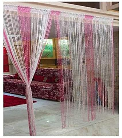 Ramcha Polyester String Door Curtain - 6.5ft, Pink