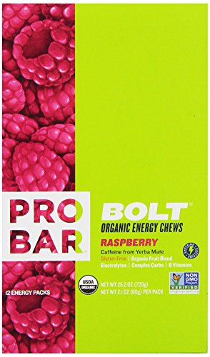 PROBAR BOLT Organic Energy Chews, Raspberry, 2.1 Ounce (Pack of 12)