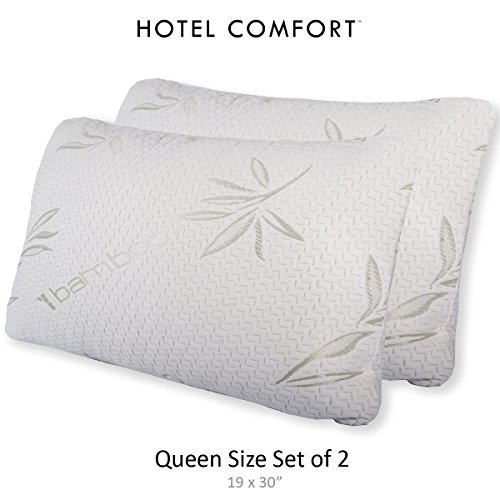 Hotel Comfort Bamboo Covered Memory Foam Pillow - Queen - Set of 2 - Stay Cool Bamboo Cover with...