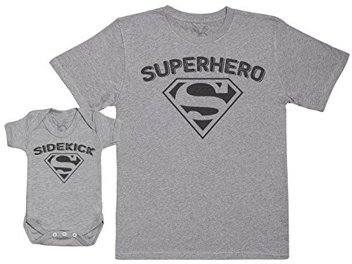 Sidekick & Superhero - Baby Gift Set with Baby Bodysuit & Father's T-Shirt - Grey - M & -