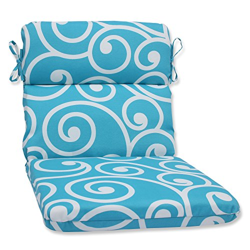 Pillow Perfect Outdoor Best Rounded Corners Chair Cushion, Turquoise (Small Chairs Corner)