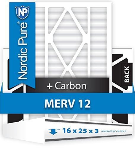 Nordic Pure 16x25x1M12+C-12 MERV 12 Plus Carbon AC Furnace Air Filters, Qty-12