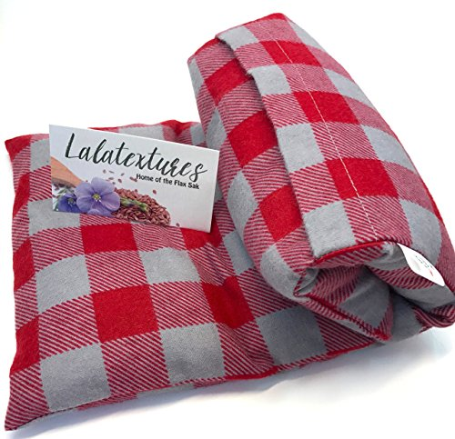 Large Microwave Heating Pad With Flax, Unscented, Red and Grey Checkers, Great Father's Day Gift! The