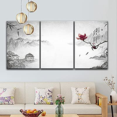 3 Panel Chinese Ink Painting Landscape with Mountains...24