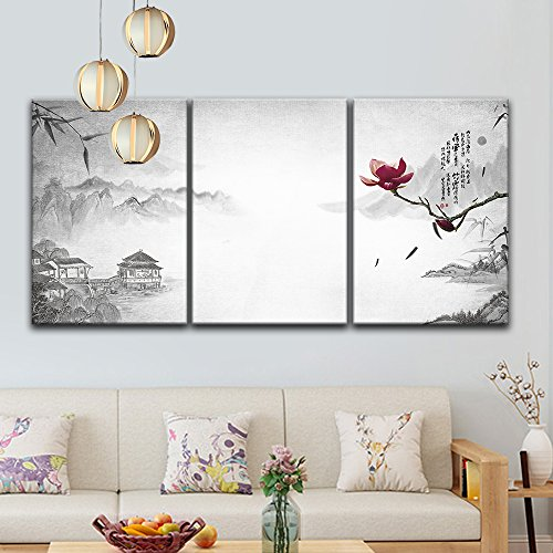 3 Panel Chinese Ink Painting Landscape with Mountains and River and a Magnolia Flower x 3 Panels