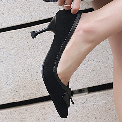SJJH Fashion Court Shoes with Poited Toe and Thin Heel Business Style Shoes with Large Black SCbwmevNgQ
