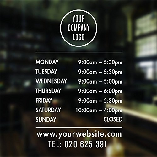 (Opening Hours Sign Opening Times Sign For Shop Window Sticker Open Closed Sign Business Hours Personalized Business Window Stickers Personalized Bespoke Signage Decals 16 inches wide)