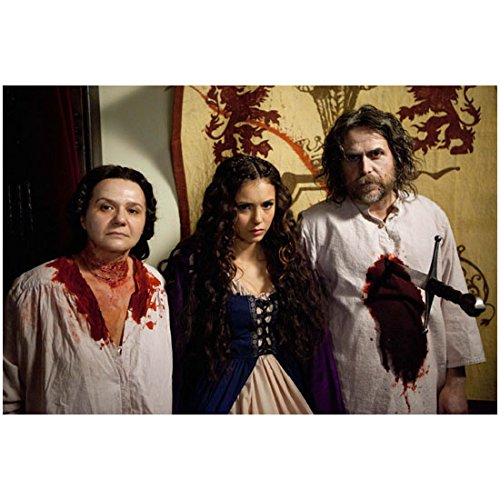 The Vampire Diaries (TV Series 2009 - ) 8 inch x 10 inch photograph Nina Dobrev Pink/Purple Costume w/Freshly Dead Couple kn -