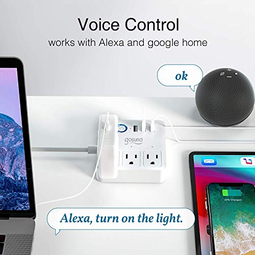 Gosund Smart Power Strip Works with Alexa/Google Home, Smart Plugs WiFi Surge Protector Multi Outlet Extender, 10A 3 USB…