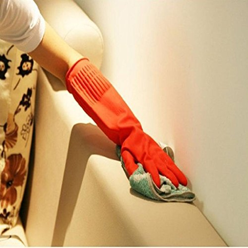 Housework Gloves TOOPOOT Waterproof Rubber Latex Gloves for Dish Washing Laundry (Red) by TOOPOOT (Image #3)