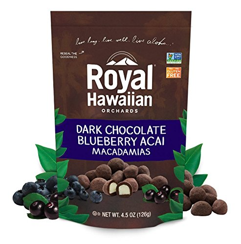 Royal Hawaiian Orchards Dark Chocolate Blueberry Acai Macadamia Nuts, Pack of 6/4.5 Ounce - Center Royal The Hawaiian