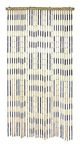 Criss-Cross Bamboo Beaded Door Curtain - -