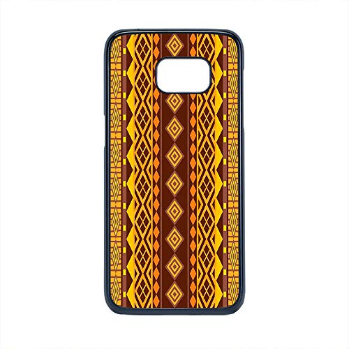 Cell Phone Case Compatible Samsung Galaxy S7 Edge,Primitive - Hard Plastic Phone Case/Black - Vertical African Geometric Ornate Bound Triangle and Diagonal Shapes Art Print ()