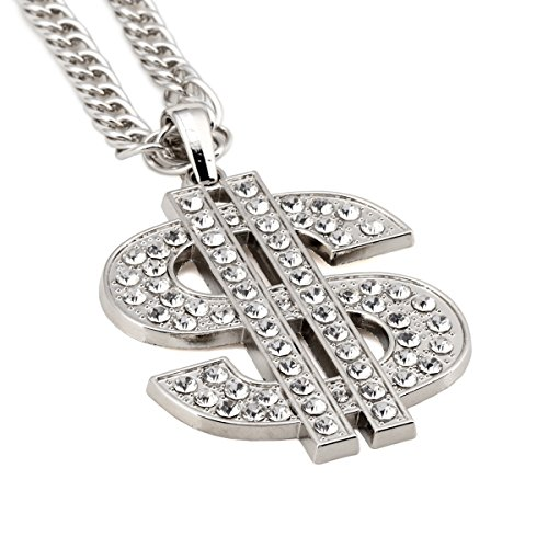 NYUK Mens Gold Chain Dollar Pendant Hip Hop Rhinestone Necklace(Silvery)