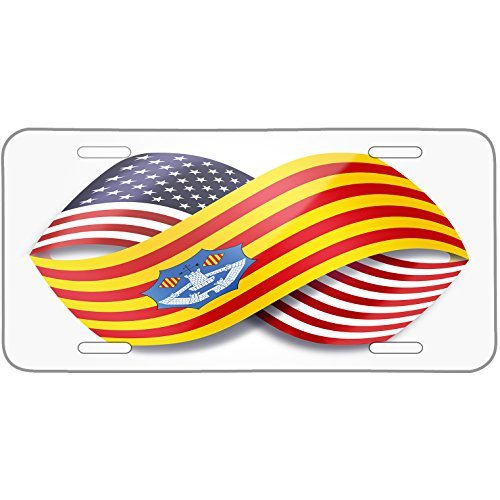 Infinity Flags USA and Menorca region Spain Metal License Plate 6X12 Inch by Saniwa