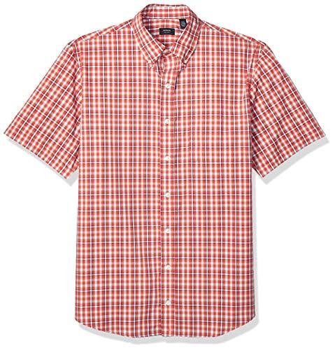 (Arrow 1851 Men's Big and Tall Hamilton Poplins Short Sleeve Button Down Plaid Shirt, Cranberry 2,)