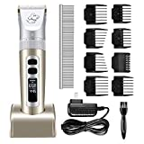 Pet Clippers, OMORC Low Noise Dog Clippers Rechargeable Cordless Electric Dog Cat Shaver, Professional Dog Grooming Clippers with LED Display, 8 Comb Guides, 1 Comb,1 Brush for Most Animals