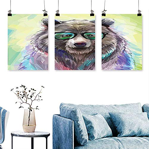 nsecutive Painting Frameless Cool Low Wild Hipster Bear with Spectacles Colorful Portrait Lime Green Blue Gray Artwork for Wall Decor Triptych 30 INCH X 47 INCH X 3PCS ()