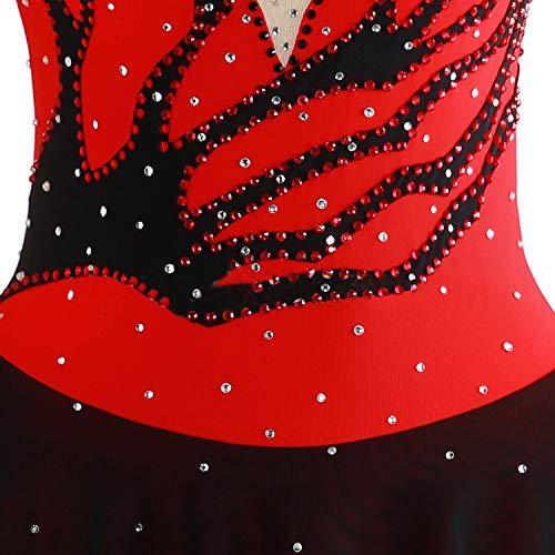De Pour Des Cristaux Rouge Filles Main Glace FemmesCostume Robe La Avec Qualité Noir Et Compétition Sur À Haute Artistique Manches Les Patinage Longues nPwOk08X