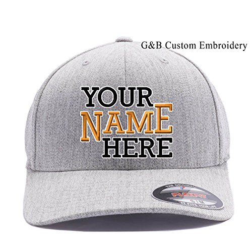 Yupoong Custom Hat, 6477 Flexfit, Custom Logo or Name Embroidery. Place Your Own Text (L/XL, Heather Grey)
