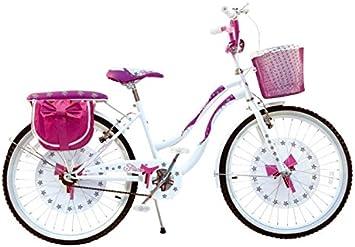 Bicicleta con lazo, color blanco y rosa. Talla 24. Bicicleta de paseo ...