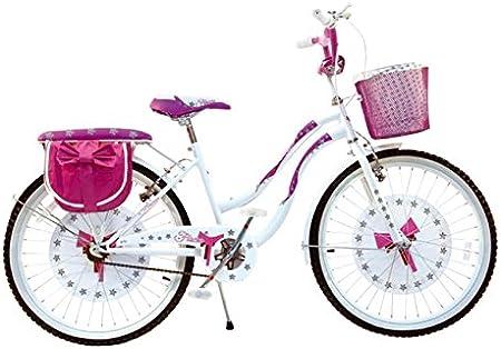 Bicicleta con lazo, color blanco y rosa. Talla 24. Bicicleta de ...
