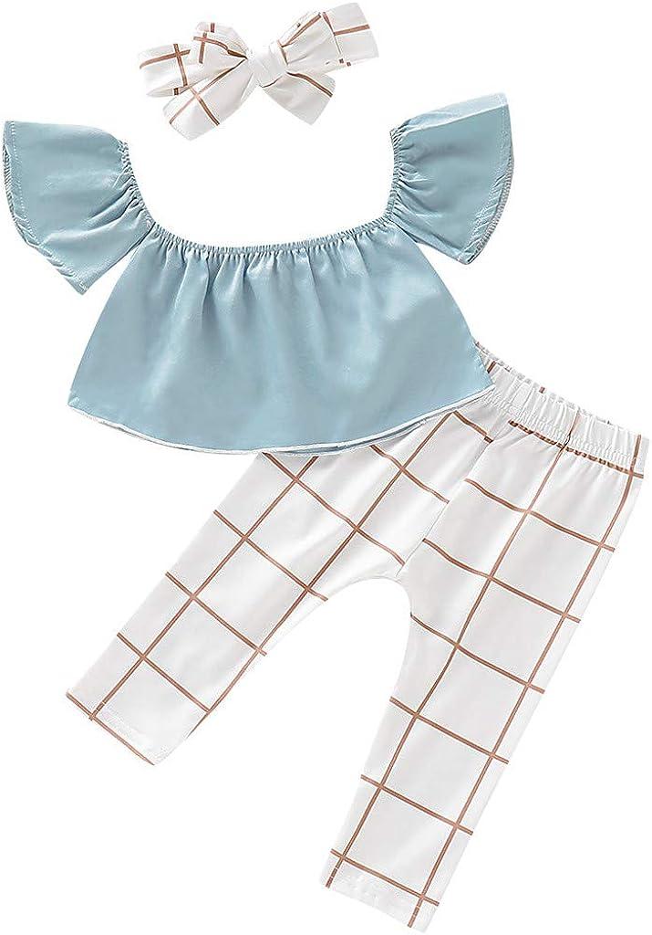Moneycom - Conjunto de ropa de hombro para bebé, niña, pantalones de cuadros florales y conjuntos de diademas para otoño y niña, color azul