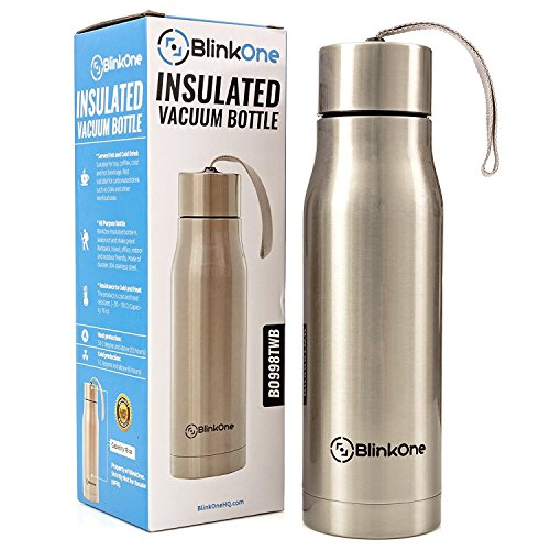 BlinkOne Double Walled Stainless Steel Vacuum Insulated Water Bottle; Leakproof and Shakeproof (18 Oz)