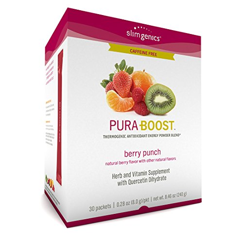 - SlimGenics Pura-Boost ® | Thermogenic Caffeine Free Energy Drink Mix – Antioxidant, Anti-Aging Properties - Metabolism Booster for Weight Loss - Fights Fatigue and Inflammation (Berry Flavor)