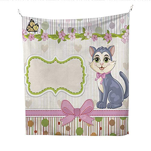 Cinderella Invitations Shower - 25 Home Decor Tapestries for Bedroom Baby Shower Invitation with Kitten Wall Tapestries for Bedroom 60W x 80L INCH
