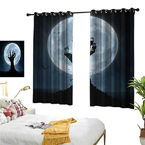 (WinfreyDecor Linen Curtains Halloween,Realistic Zombie Earth Soil Full Moon Bat Horror Story October Twilight Themed,Blue Black 72