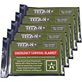 TITAN Two-Sided Emergency Mylar Survival Blankets, 5-Pack, Various Color Options | Designed for NASA Space Exploration and Heat Retention. Our Authentic Thermal Blankets are Perfect for Marathons, Emergency Kits, and Go-Bags.