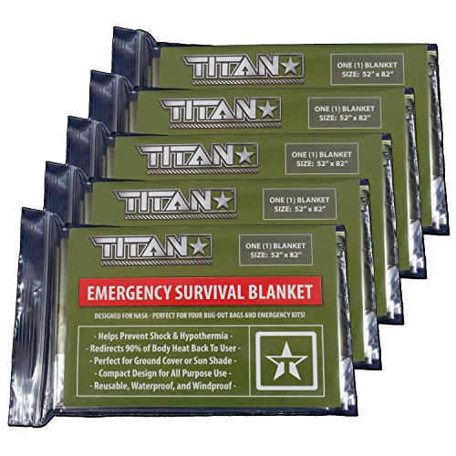 TITAN Two-Sided Emergency Mylar Survival Blankets (5-Pack), Olive-Drab / Military Green   Designed for Space Exploration. Thermal Blankets are Perfect for Marathons, Emergency Kits, and Go-Bags.