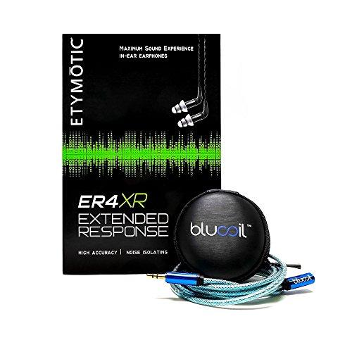 Etymotic Research ER4XR Extended Range In Ear Monitors PLUS Blucoil Earbuds Case PLUS Blucoil 6 Foot Extender - VALUE BUNDLE
