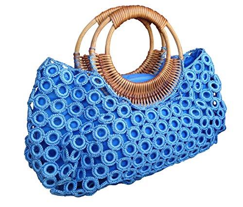 - BTP Women's Handmade Crochet Bag Rattan Loop Top Handles Handbags (Light Blue)
