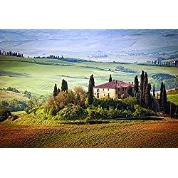 Italy tuscany summer countryside landscape nature trees sky green field- Nature Art Poster Print on Canvas 43x24in (P-1000153)