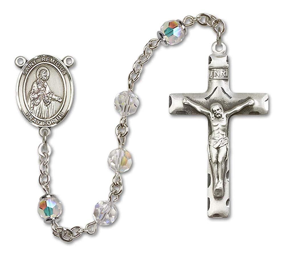 St Remigius of Reims Center St All Sterling Silver Rosary with Crystal Remigius of Reims is the Patron Saint of France//City of Reims. Austrian Tin Cut Aurora Borealis Beads 6mm Swarovski
