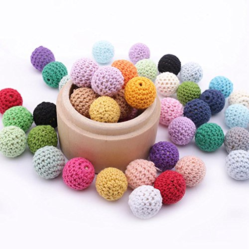 (Wooden Crochet Covered Beads Color Mix Ball 20mm/100Pcs Decoration Inside Wooden Teething Crochet Beads DIY Jewellery)