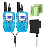Feeto T-388 Kids Walkie Talkies 22 Channel FRS/GMRS 2 Way Radios with Charger and Rechargeable Batteries (Blue, Pack of 2)
