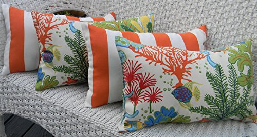 Set of 4 Indoor / Outdoor Decorative Lumbar / Rectangle Pillows - 2 Splish Splash Ocean Tropical Fish & 2 Orange and White Stripe