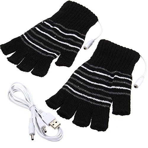 Black Heated Glove - Black USB Powered Stripes Pattern Knitting Wool Heating Heated Gloves Fingerless Hand Warmer Mittens Laptop Computer Gloves