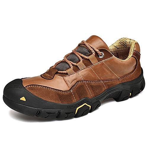 CEKU Men's Outdoor Hiking Leather Sneakers Walking Boots Casual Work Trekking Sprots Climbing Shoes Brown 10 D(US) 45