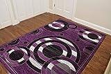 Fayari Modern Design Printed Circles Area Rug, Fashionable Geometric Shapes (5.3′ X 7.2′, Purple)
