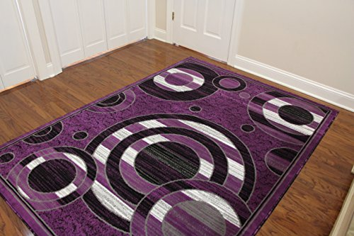 Eldorado Modern Design Printed Circles Area Rug, Fashionable Geometric Shapes (5'3