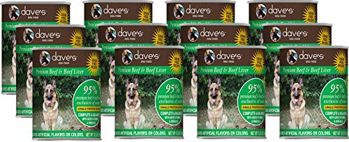 95% Beef Dog Food - Dave's Pet Food 12 Cans of 95% Premium Meats Canned Dog Food, 12.5 Ounces Each, Beef and Beef Liver