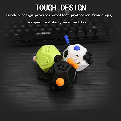 Magic Cindy 2 Pcs of 12 Sided Fidget Cube Relieves Stress and Anxiety – Toy Increases Focus and Attention for Children and Adults with ADHD, ADD OCD, and Autism - 6