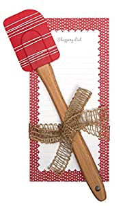 C.R. Gibson QKG2-14198 Magnetic List Pad and Spatula Gift Set, Red